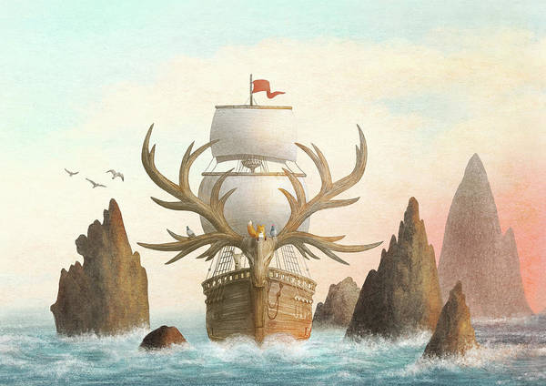 Ship Poster featuring the drawing The Antlered Ship by Eric Fan
