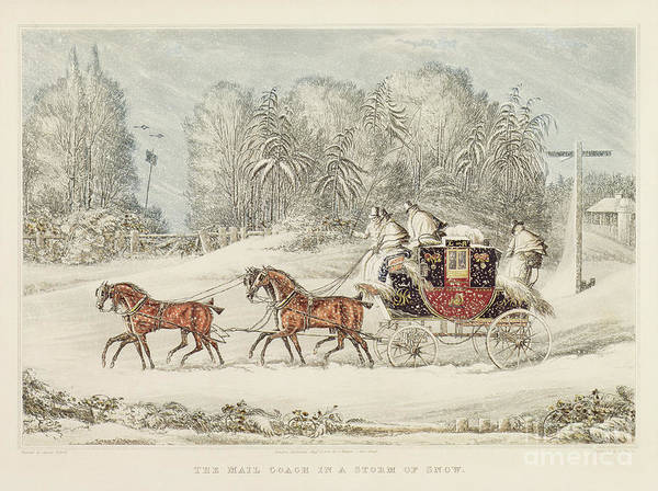 The Mail Coach In A Storm Of Snow Poster featuring the painting The Mail Coach In A Storm Of Snow 1825 by James Pollard