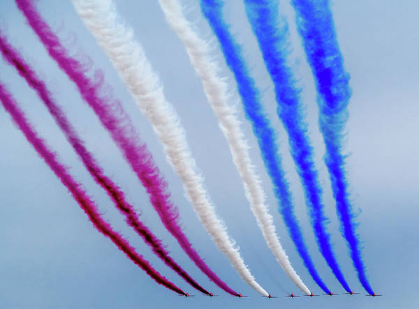 Poster featuring the photograph The Red Arrows. by Angela Aird