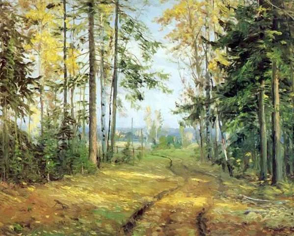 The Poster featuring the painting The Road Into The Forest by Ge Nikolai