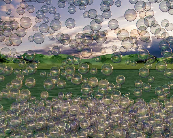Bubble Poster featuring the digital art The Simplicity Of Bubbles by Betsy Knapp