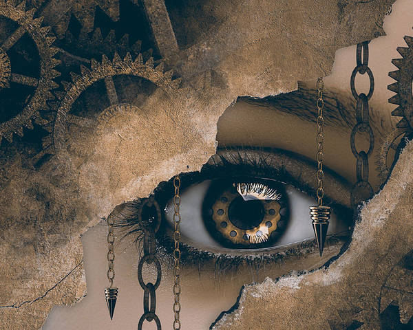 Surreal Poster featuring the digital art Time Glance by Mihaela Pater