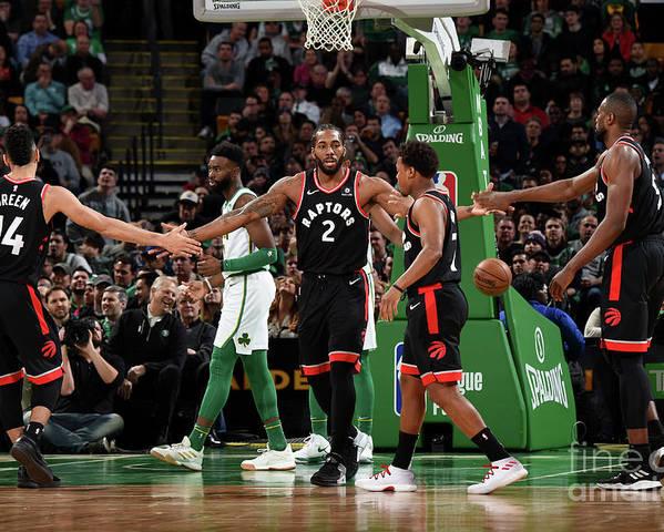 Nba Pro Basketball Poster featuring the photograph Toronto Raptors V Boston Celtics by Brian Babineau