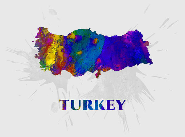 Turkey Poster featuring the mixed media Turkey, Map, Artist Singh by Artist Singh MAPS