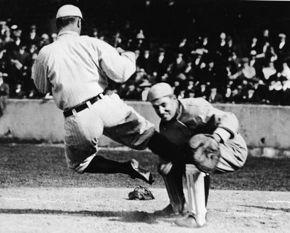 Baseball Catcher Poster featuring the photograph Ty Cobb Sliding Into Catcher by Pictorial Parade