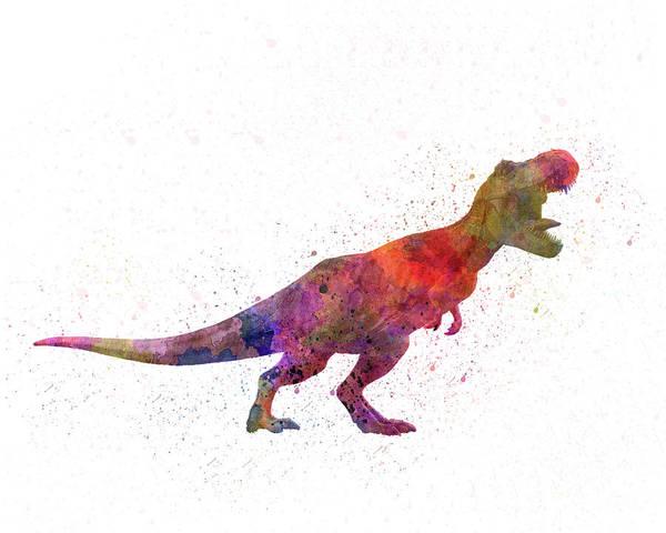 Tyrannosaurus Rex Dinosaur In Watercolor Poster featuring the painting Tyrannosaurus Rex Dinosaur In Watercolor by Pablo Romero