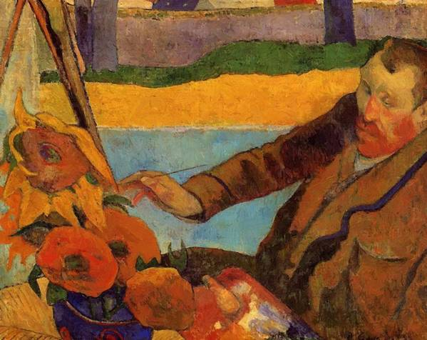Van Poster featuring the painting Van Gogh Painting Sunflowers 1888 by Gauguin Paul