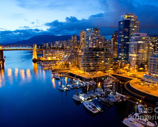 Night View Poster featuring the photograph Vancouver Night View by Abesan