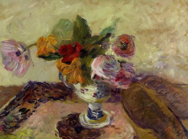 Vase Poster featuring the painting Vase Of Flowers 1886 by Gauguin Paul