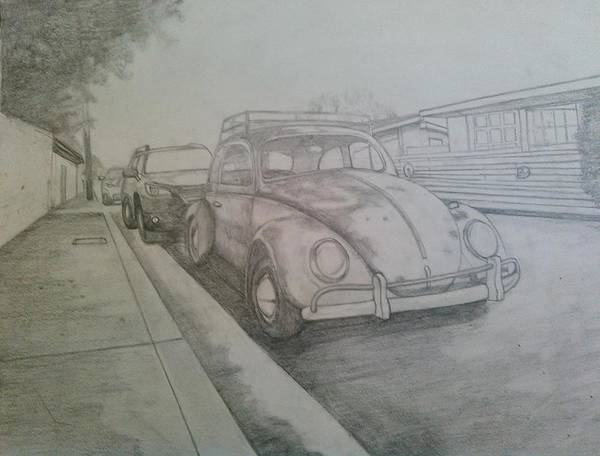 Drawing Of Vw Poster featuring the drawing Vdub by Andrew Johnson