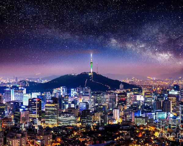 City Poster featuring the photograph View Of Downtown Cityscape And Seoul by Guitar Photographer