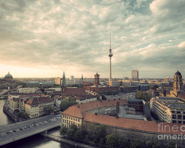 Alexanderplatz Poster featuring the photograph View Over Berlin Mitte At Evening by Ar Pictures