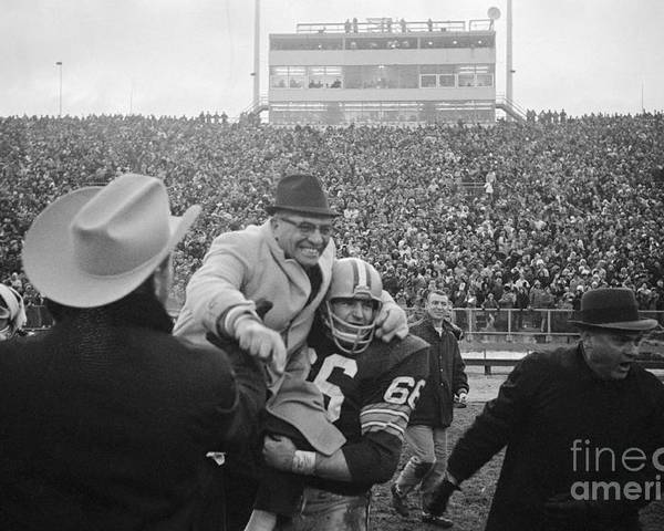 Playoffs Poster featuring the photograph Vince Lombardi Celebrating Nfl Title by Bettmann