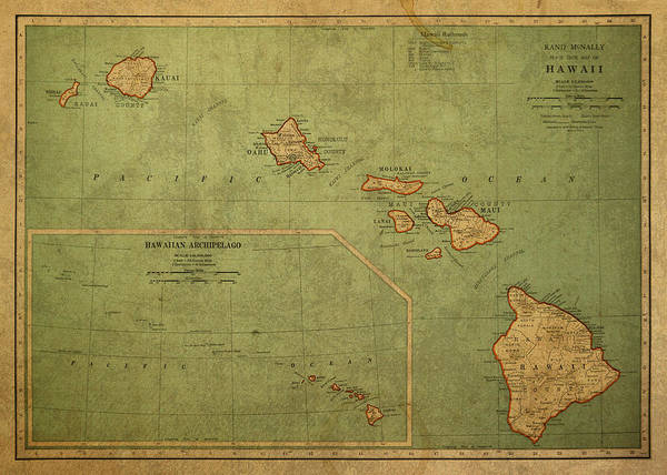 Vintage Poster featuring the mixed media Vintage Map Of Hawaii by Design Turnpike