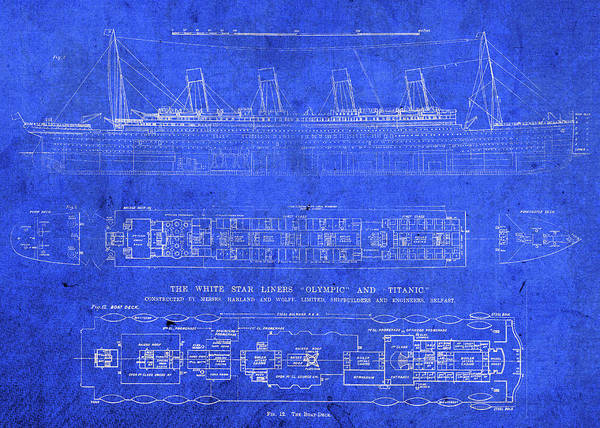 Vintage Poster featuring the mixed media Vintage Titanic Blueprints by Design Turnpike