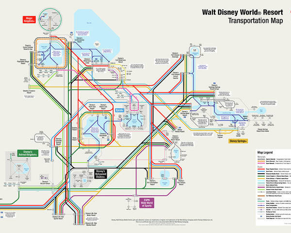 Walt Disney World Resort Transportation Map Poster by Arthur De Wolf