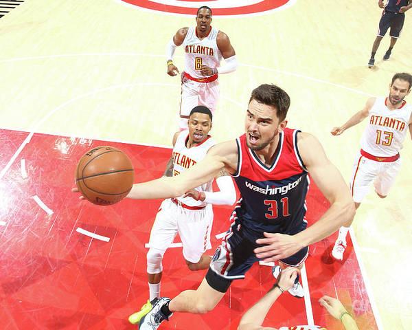 Atlanta Poster featuring the photograph Washington Wizards V Atlanta Hawks - by Kevin Liles