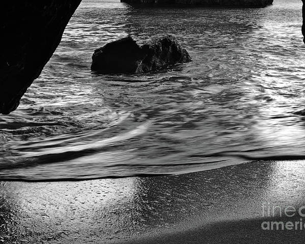 Cliff Poster featuring the photograph Waves From The Cave In Monochrome by Angelo DeVal