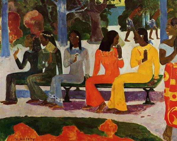 We Poster featuring the painting We Shall Not Go To Market Today 1892 by Gauguin Paul