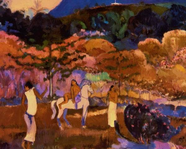 Women Poster featuring the painting Women And White Horse 1903 by Gauguin Paul