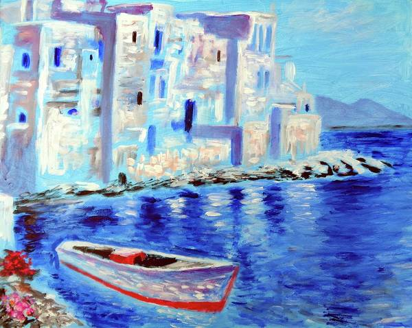 Mykonos Poster featuring the painting Wondrous Mykonos by Larry Cirigliano