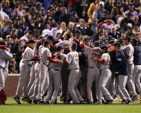 Scoring Poster featuring the photograph World Series Boston Red Sox V Colorado by Stephen Dunn