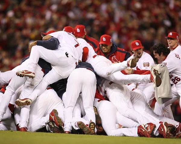 Following Poster featuring the photograph World Series Game 5 St. Louis Cardinals by Rich Pilling