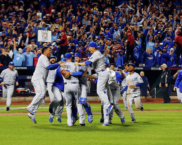 American League Baseball Poster featuring the photograph World Series - Kansas City Royals V New by Jim Mcisaac