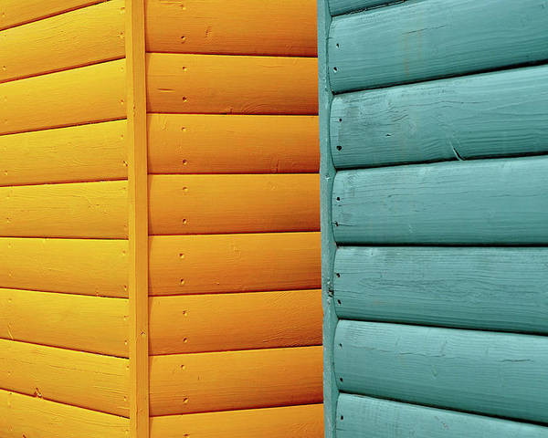 Beach Hut Poster featuring the photograph Yellow & Blue Beach Huts Abstract by Kevin Button