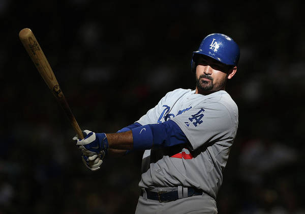 Ninth Inning Poster featuring the photograph Adrian Gonzalez by Christian Petersen