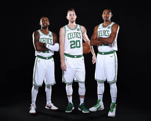 Media Day Poster featuring the photograph Al Horford, Kyrie Irving, and Gordon Hayward by Brian Babineau
