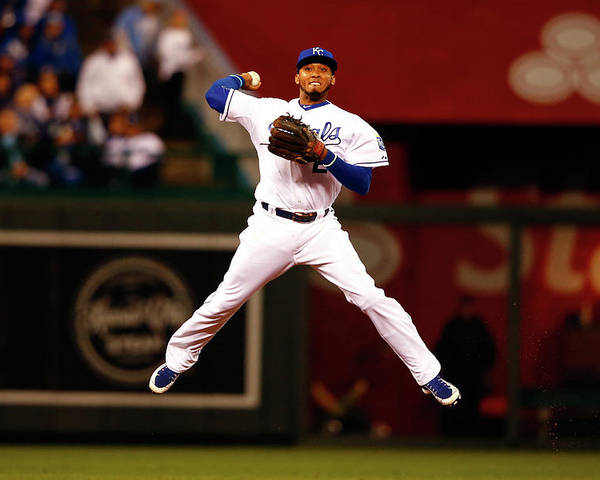 People Poster featuring the photograph Alcides Escobar by Jamie Squire