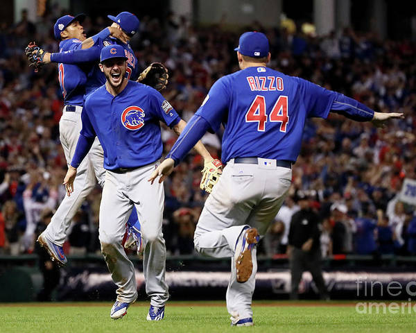 People Poster featuring the photograph Anthony Rizzo and Kris Bryant by Ezra Shaw
