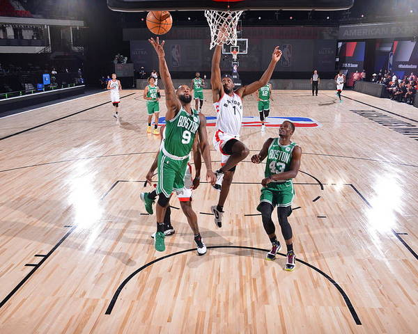 Nba Pro Basketball Poster featuring the photograph Boston Celtics v Toronto Raptors by Bill Baptist