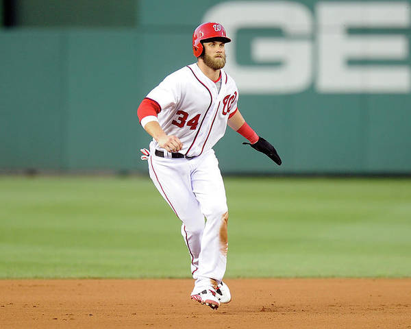 American League Baseball Poster featuring the photograph Bryce Harper by Greg Fiume