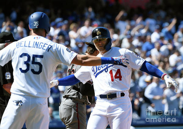 Three Quarter Length Poster featuring the photograph Cody Bellinger by Kevork Djansezian