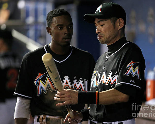 People Poster featuring the photograph Dee Gordon And Ichiro Suzuki by Mike Ehrmann