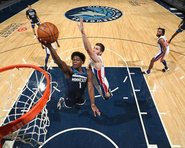 Nba Pro Basketball Poster featuring the photograph Detroit Pistons v Minnesota Timberwolves by Jordan Johnson