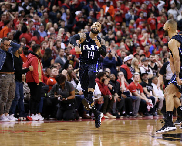 Playoffs Poster featuring the photograph D.j. Augustin by David Sherman