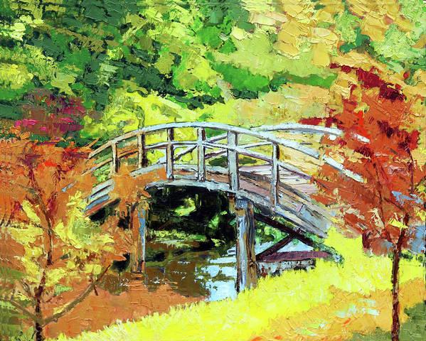 Bridge Poster featuring the painting Drum Bridge in Autumn by John Lautermilch