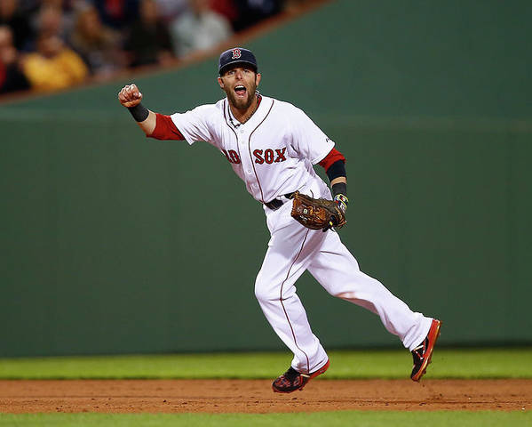 American League Baseball Poster featuring the photograph Dustin Pedroia by Jared Wickerham