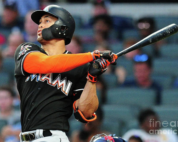 Atlanta Poster featuring the photograph Giancarlo Stanton by Scott Cunningham