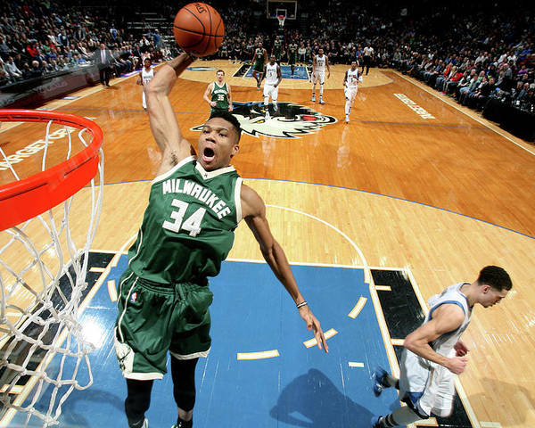 Nba Pro Basketball Poster featuring the photograph Giannis Antetokounmpo by David Sherman