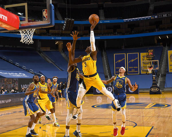 San Francisco Poster featuring the photograph Indiana Pacers v Golden State Warriors by Noah Graham