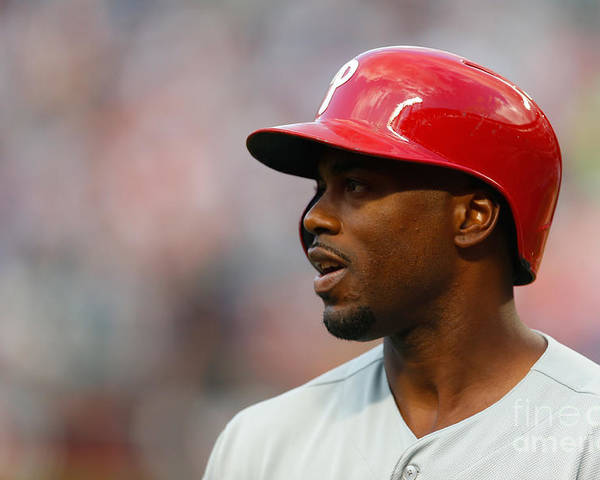 American League Baseball Poster featuring the photograph Jimmy Rollins by Mike Stobe