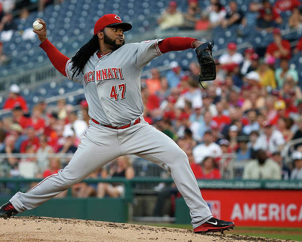 People Poster featuring the photograph Johnny Cueto by Rob Carr