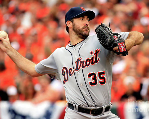Game Two Poster featuring the photograph Justin Verlander by Rob Carr