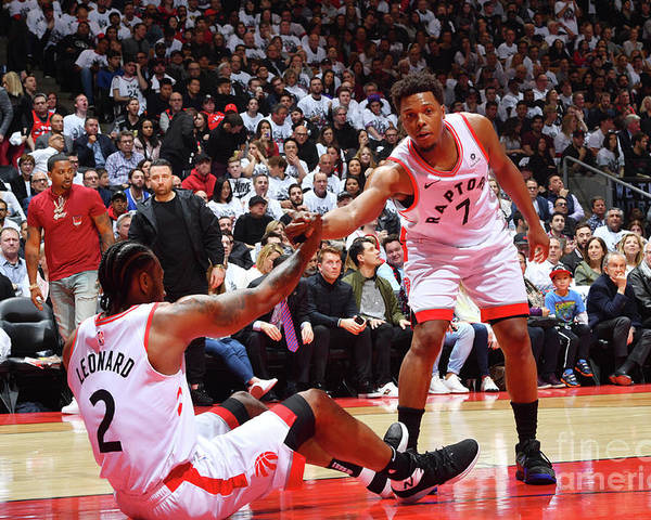 Playoffs Poster featuring the photograph Kawhi Leonard and Kyle Lowry by Jesse D. Garrabrant