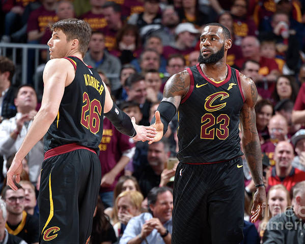 Playoffs Poster featuring the photograph Kevin Love and Lebron James by David Liam Kyle