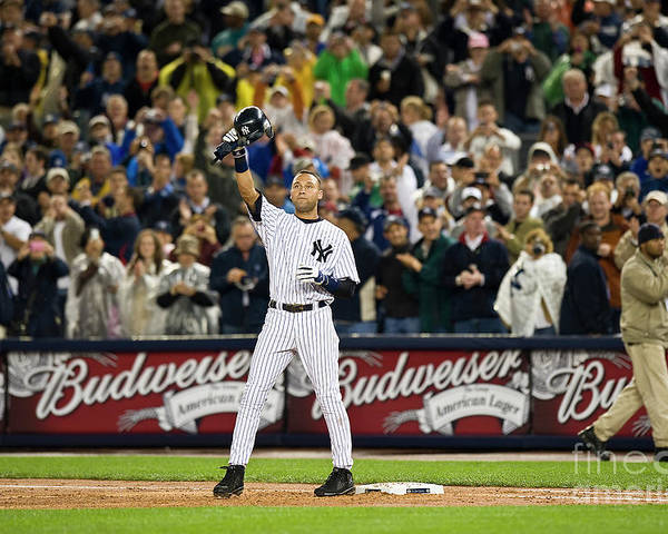 People Poster featuring the photograph Lou Gehrig and Derek Jeter by Icon Sports Wire